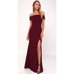 Lulus Off-the-shoulder Red Maxi Dress, XS